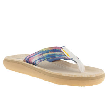 womens rocket dog white & blue sunset rainbow dye sandals