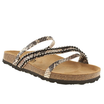 Schuh Brown & White Breeze Diamante Sandals