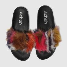 Schuh Pink & Brown Furry Womens Sandals
