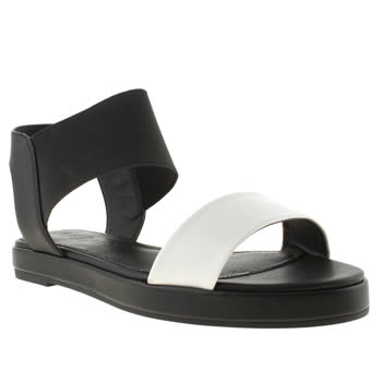 Womens Schuh Black & White Seashell Sandals