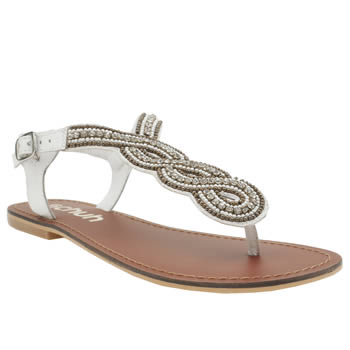 Schuh White Luster Sandals