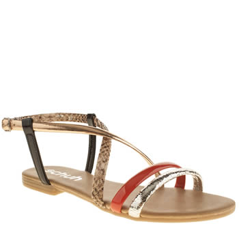 Womens Schuh Pink & Black Essential Sandals