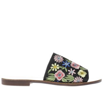 Schuh Black & Green Bali Embroidered Sandals