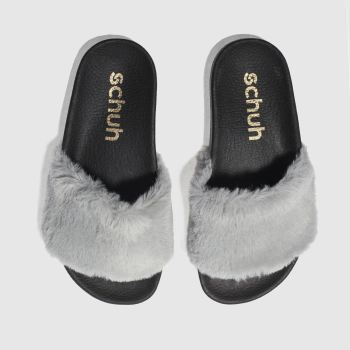 Schuh Grey Fuzzy Womens Sandals