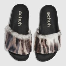 Schuh Black & Pale Pink Fuzzy Womens Sandals