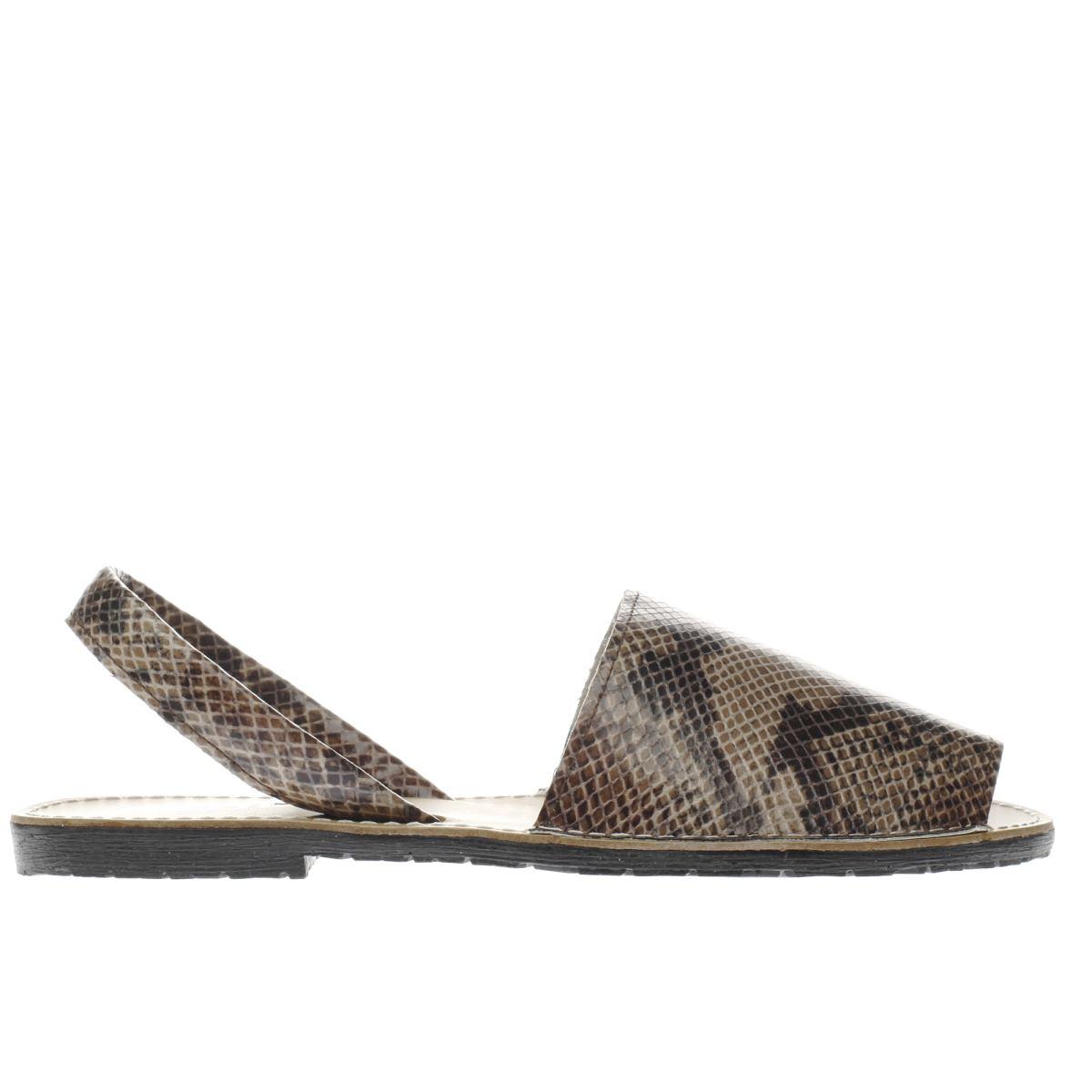 schuh beige & brown barcelona snake sandals