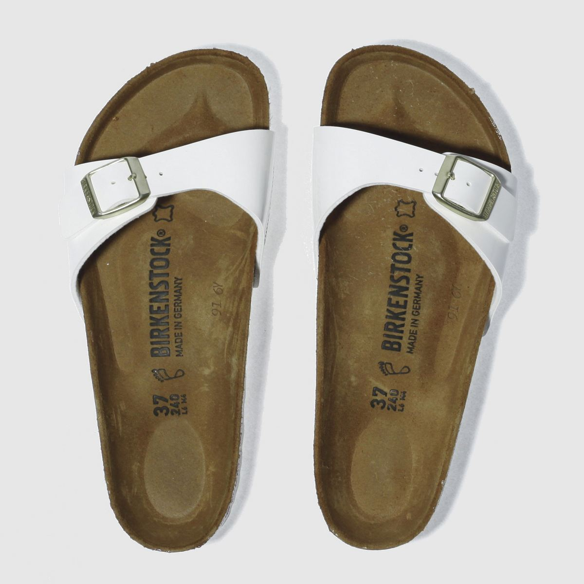 birkenstock white madrid patent sandals