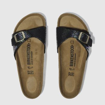 Birkenstock Black Birk Madrid Shiny Snake Womens Sandals