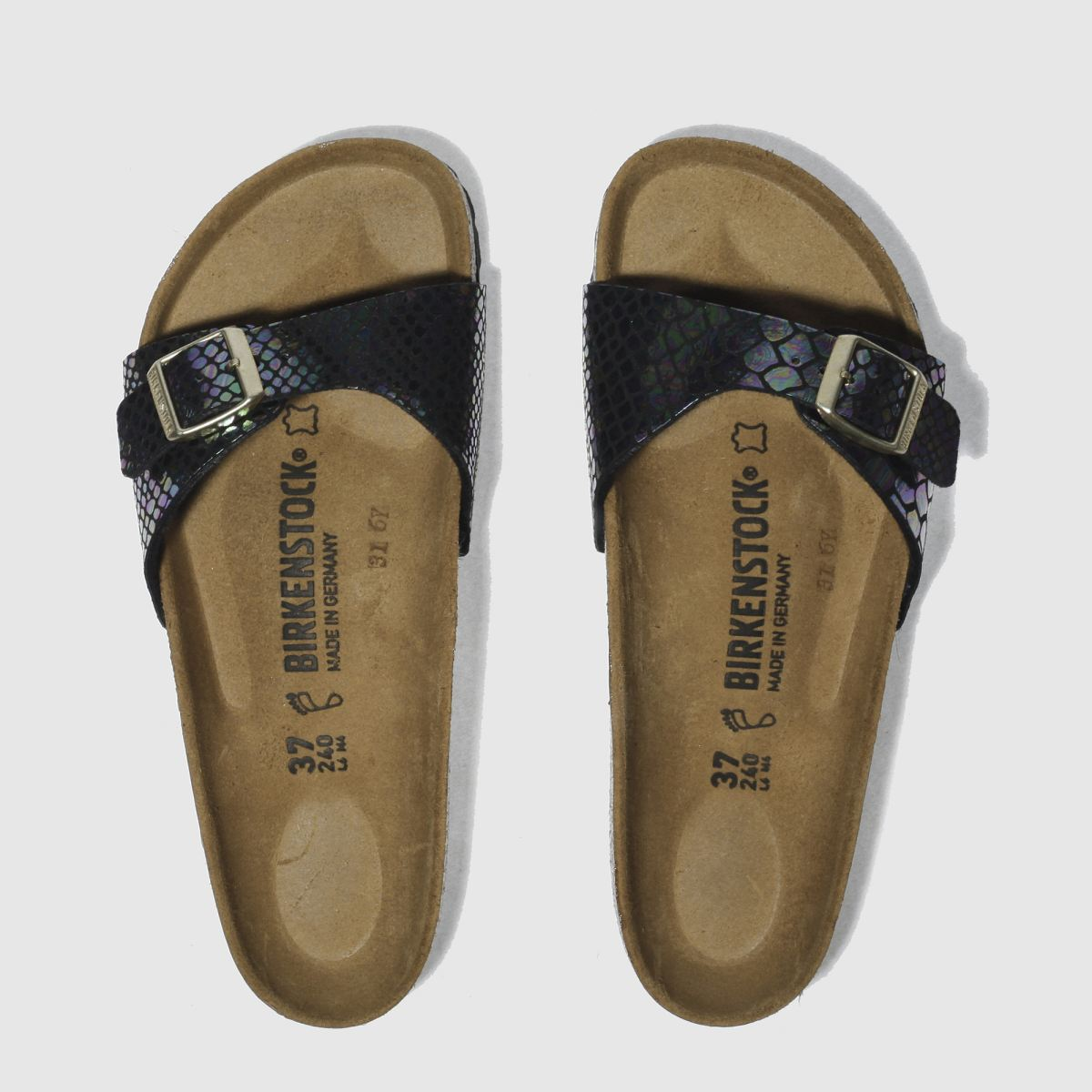 birkenstock black & purple birk madrid shiny snake sandals