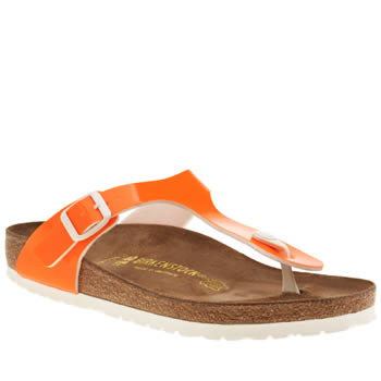 BIRKENSTOCK ORANGE GIZEH PATENT SANDALS