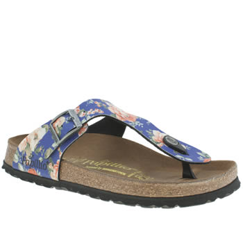 Birkenstock Blue Gizeh Rambling Rose Sandals