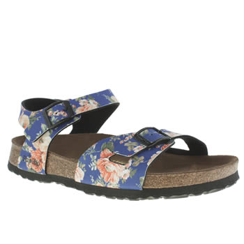 Womens Birkenstock Blue Rio Rambling Rose Sandals