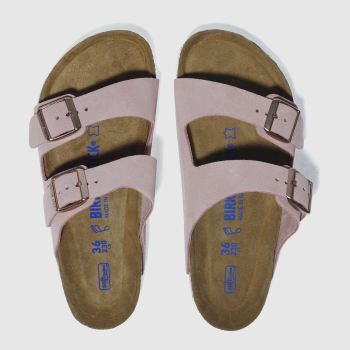 Birkenstock Pink Arizona Soft Footbed Suede Womens Sandals