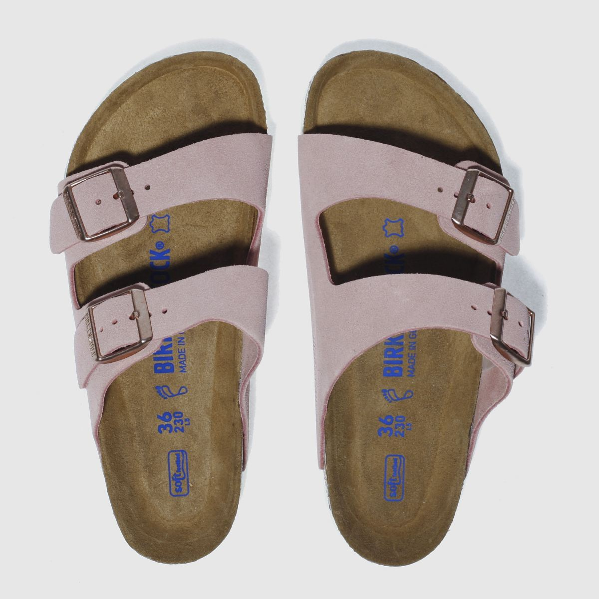 Birkenstock Pale Pink Arizona Soft Footbed Suede Sandals