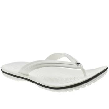 Womens Crocs White Crocband Flip Sandals