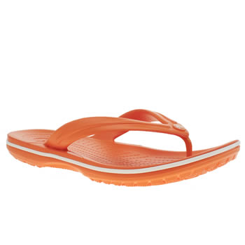 Womens Crocs Orange Crocband Flip Sandals
