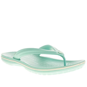 Womens Crocs Turquoise Crocband Flip Sandals