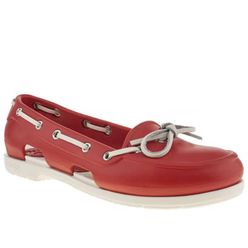 Womens Crocs Red Beach Line Boat Shoe Sandals