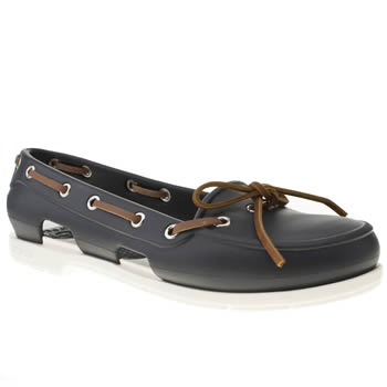 Womens Crocs Navy Beach Line Boat Shoe Flats