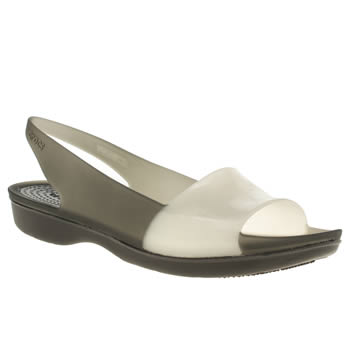 Crocs Black & White Colour Block Flat Womens Sandals