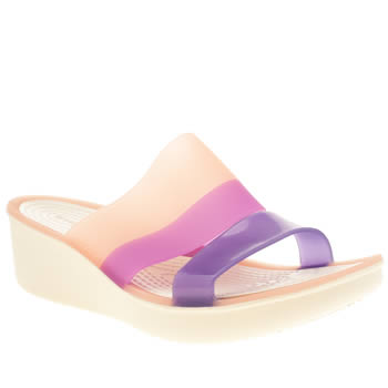 Crocs White & Pink Colour Block Mini Wedge Sandals