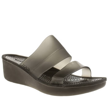 Crocs Black Colour Block Mini Wedge Sandals