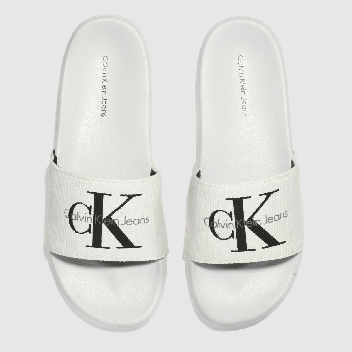 Calvin Klein White & Black Jeans Chantal Heavy Canvas Sandals