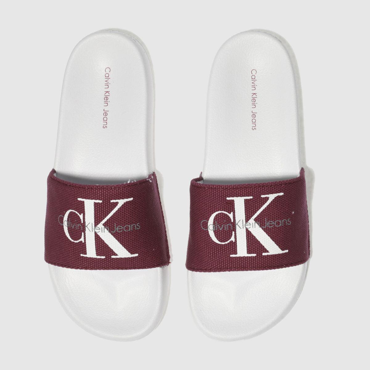 Calvin Klein White & Burgundy Chantal Heavy Canvas Sandals
