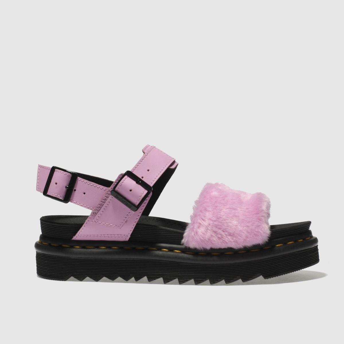 Dr Martens Pale Pink Zebrilus Voss Fluffy Sandals