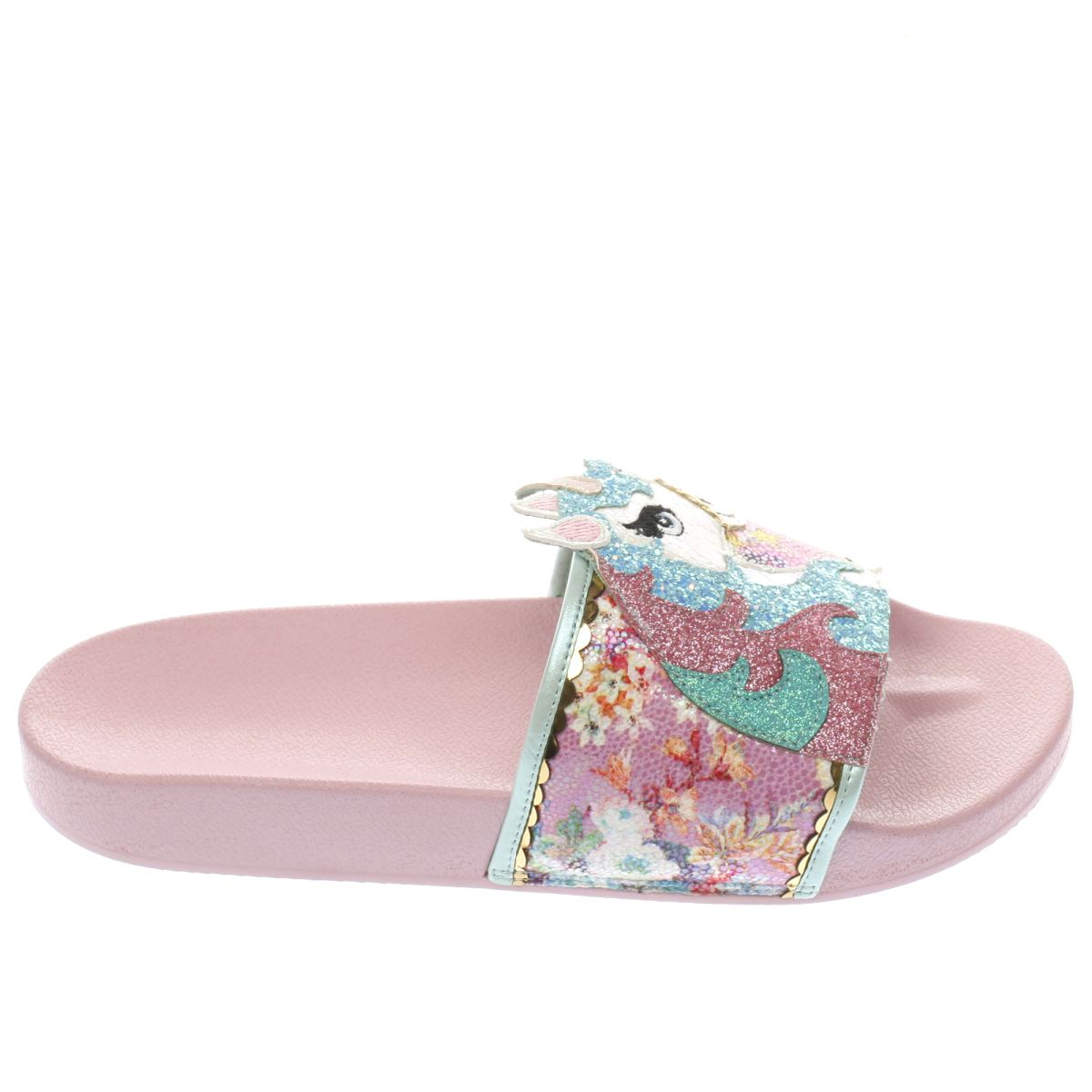 irregular choice white & pink misty reins slider sandals