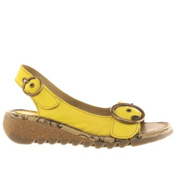 Womens Fly London Yellow Tram Sandals