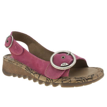 Womens Fly London Pink Tram Sandals