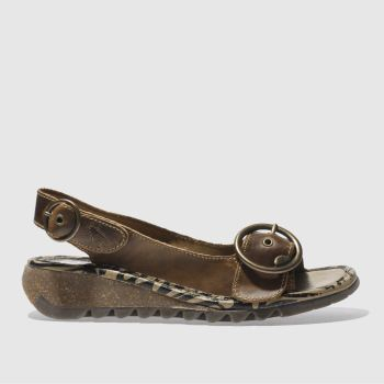 Womens Fly London Tan Tram Sandals
