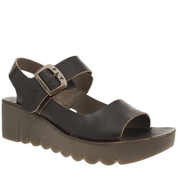 Fly London Black Yael Womens Sandals