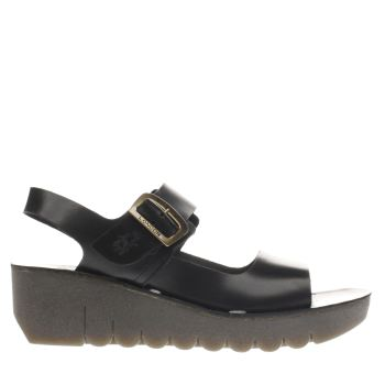Fly London Black Yail Womens Sandals