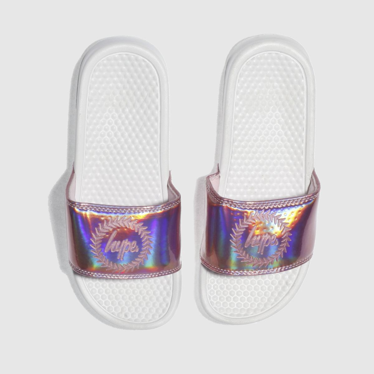 Hype Hype Pink Holographic Slider Sandals