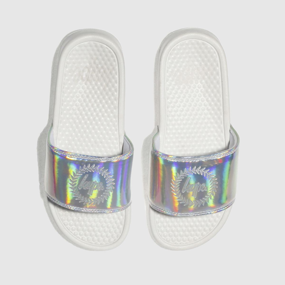 Hype Hype Silver Holographic Slider Sandals