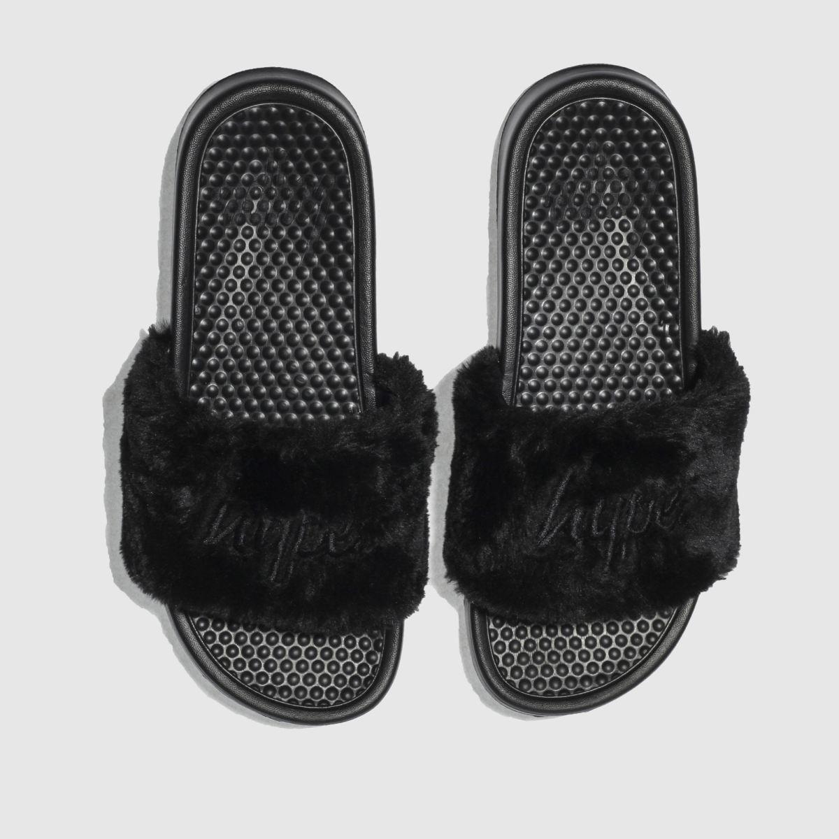 Hype Hype Black Fluffy Slider Sandals