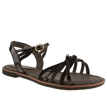 Womens Hush Puppies Black Caposhi Strap Patent Sandals