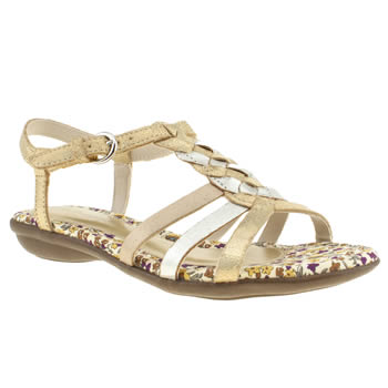 Womens Hush Puppies Gold Nishi T-strap Sandals
