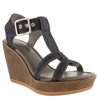 womens hush puppies navy & white cores denim sandals