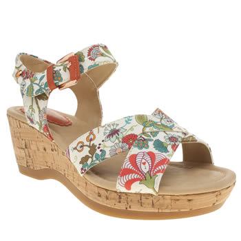 Womens Hush Puppies White & Pink Eva Farris Liberty Floral Sandals