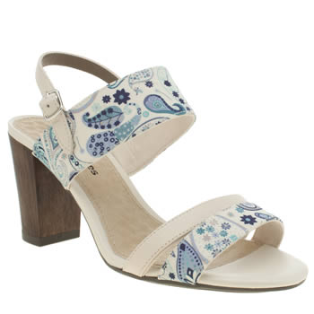 Womens Hush Puppies White & Blue Molly Malia Liberty Paisley Sandals