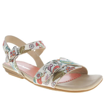Womens Hush Puppies White & Pink Faith Buckle Liberty Floral Sandals
