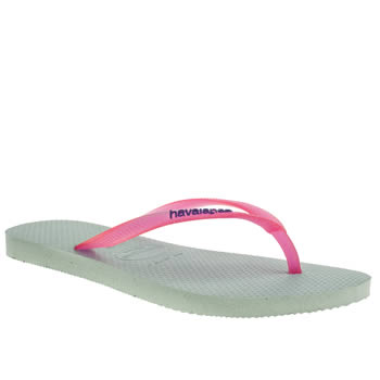 womens havaianas pale blue slim logo sandals