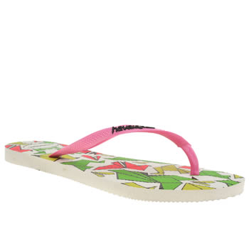 Womens Havaianas White & Pink Slim Cool Sandals