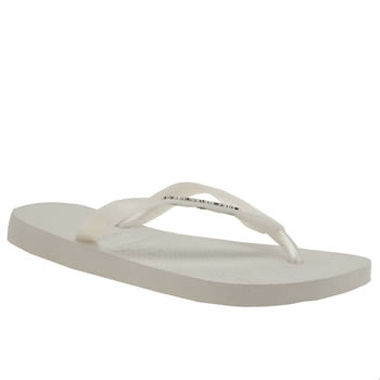 Womens Havaianas White Top Logo Metallic Sandals