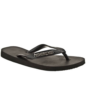Womens Havaianas Black Top Logo Metallic Sandals