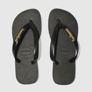 Havaianas Black & Gold Top Logo Metallic Womens Sandals