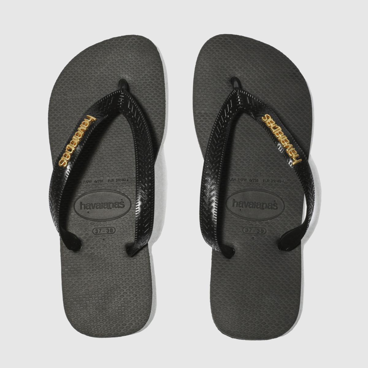 Black sandals ireland - Havaianas Black Gold Top Logo Metallic Womens Sandals